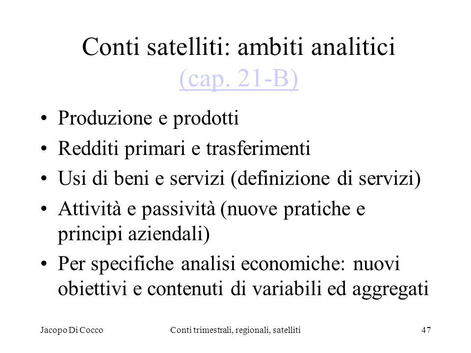Jacopo Di CoccoConti trimestrali, regionali, satelliti47 Conti satelliti: ambiti analitici (cap.
