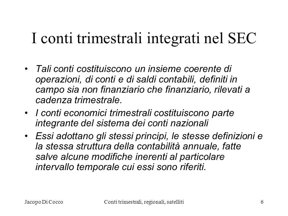 Jacopo Di CoccoConti trimestrali, regionali, satelliti6 I conti trimestrali integrati nel SEC Tali conti costituiscono un insieme coerente di operazioni, di conti e di saldi contabili, definiti in campo sia non finanziario che finanziario, rilevati a cadenza trimestrale.