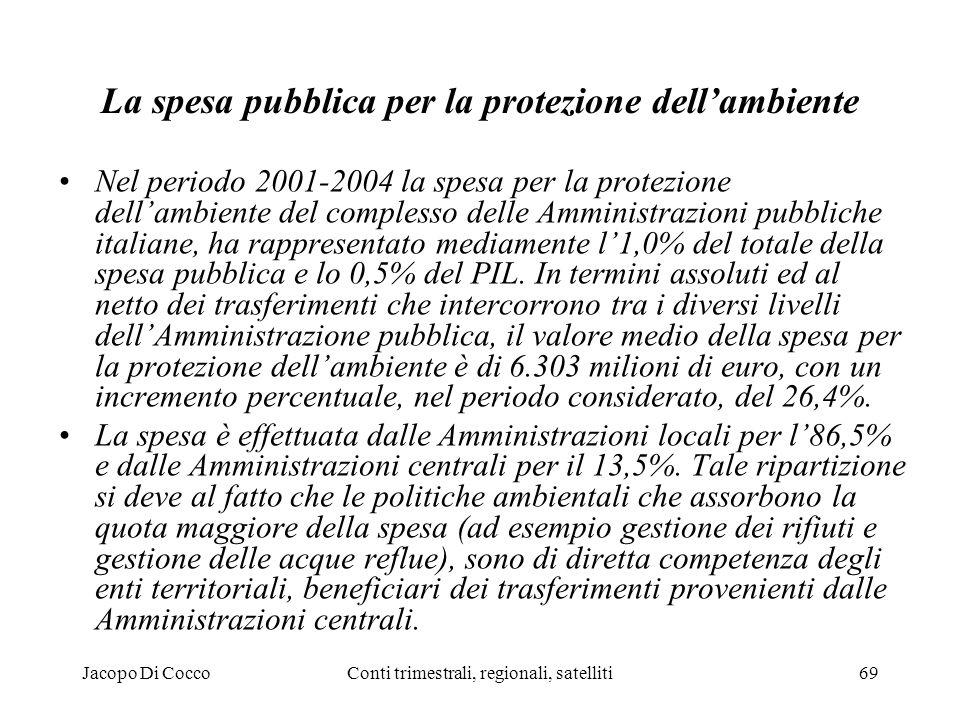 Jacopo Di CoccoConti trimestrali, regionali, satelliti69 La spesa pubblica per la protezione dellambiente Nel periodo 2001-2004 la spesa per la protezione dellambiente del complesso delle Amministrazioni pubbliche italiane, ha rappresentato mediamente l1,0% del totale della spesa pubblica e lo 0,5% del PIL.