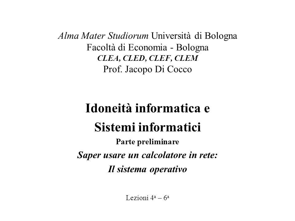 Alma Mater Studiorum Università di Bologna Facoltà di Economia - Bologna CLEA, CLED, CLEF, CLEM Prof.
