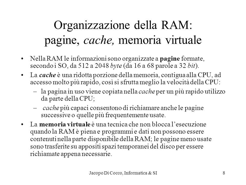 Jacopo Di Cocco, Informatica & SI8 Organizzazione della RAM: pagine, cache, memoria virtuale Nella RAM le informazioni sono organizzate a pagine formate, secondo i SO, da 512 a 2048 byte (da 16 a 68 parole a 32 bit).