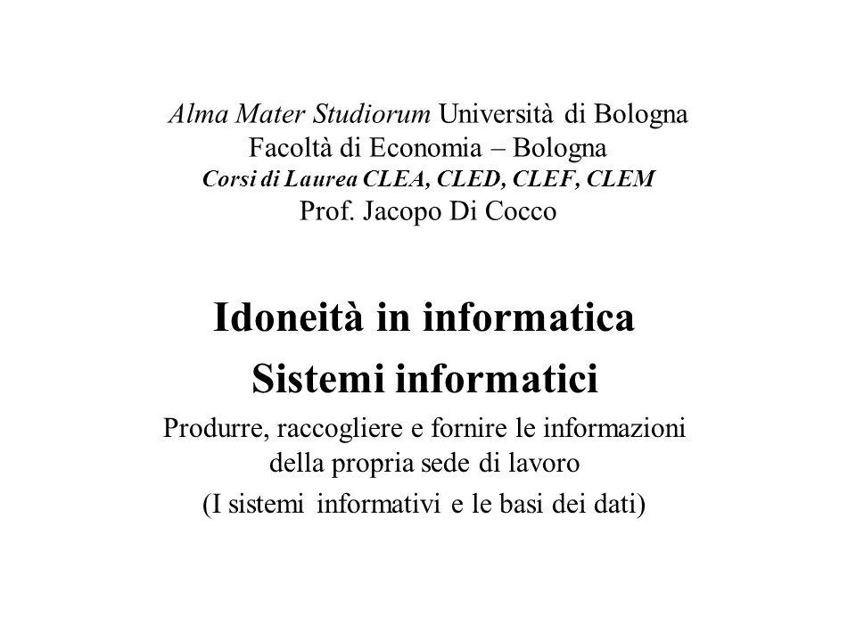 Alma Mater Studiorum Università di Bologna Facoltà di Economia – Bologna Corsi di Laurea CLEA, CLED, CLEF, CLEM Prof. Jacopo Di Cocco Idoneità in info