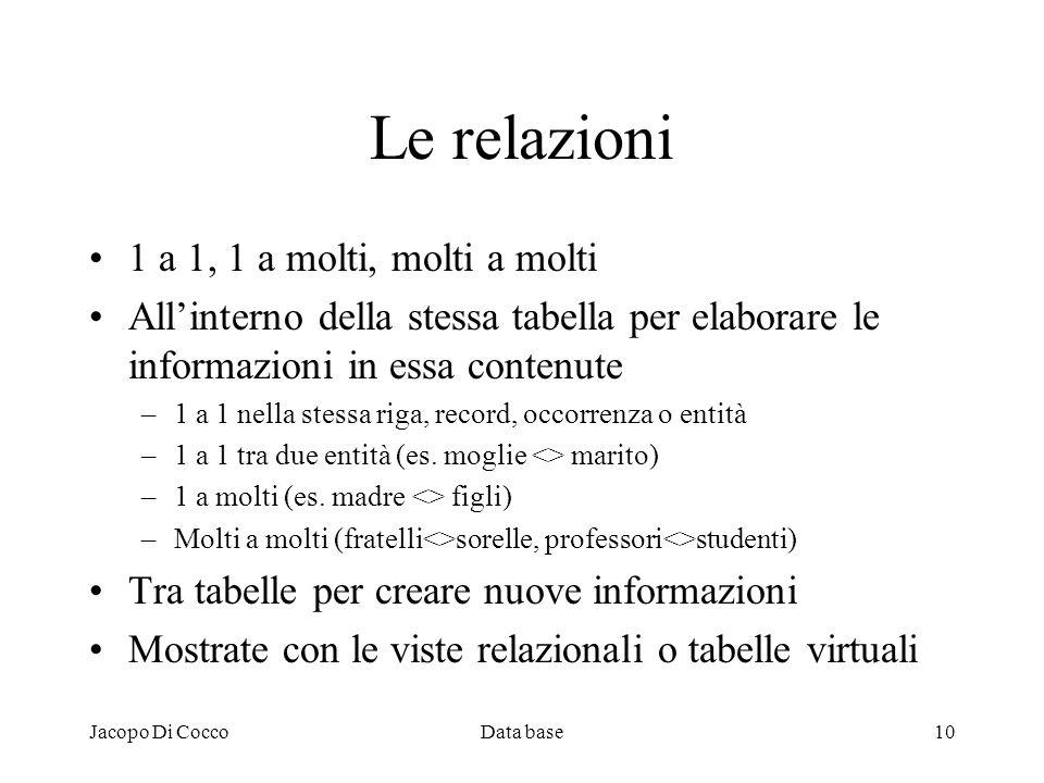 Jacopo Di CoccoData base10 Le relazioni 1 a 1, 1 a molti, molti a molti Allinterno della stessa tabella per elaborare le informazioni in essa contenut