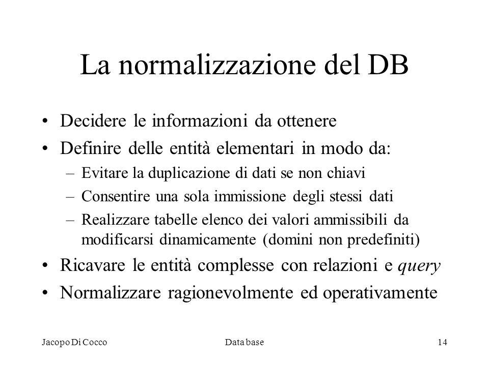 Jacopo Di CoccoData base14 La normalizzazione del DB Decidere le informazioni da ottenere Definire delle entità elementari in modo da: –Evitare la dup