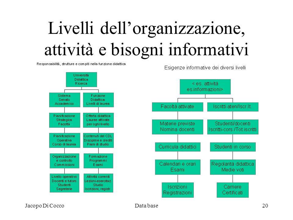 Jacopo Di CoccoData base20 Livelli dellorganizzazione, attività e bisogni informativi