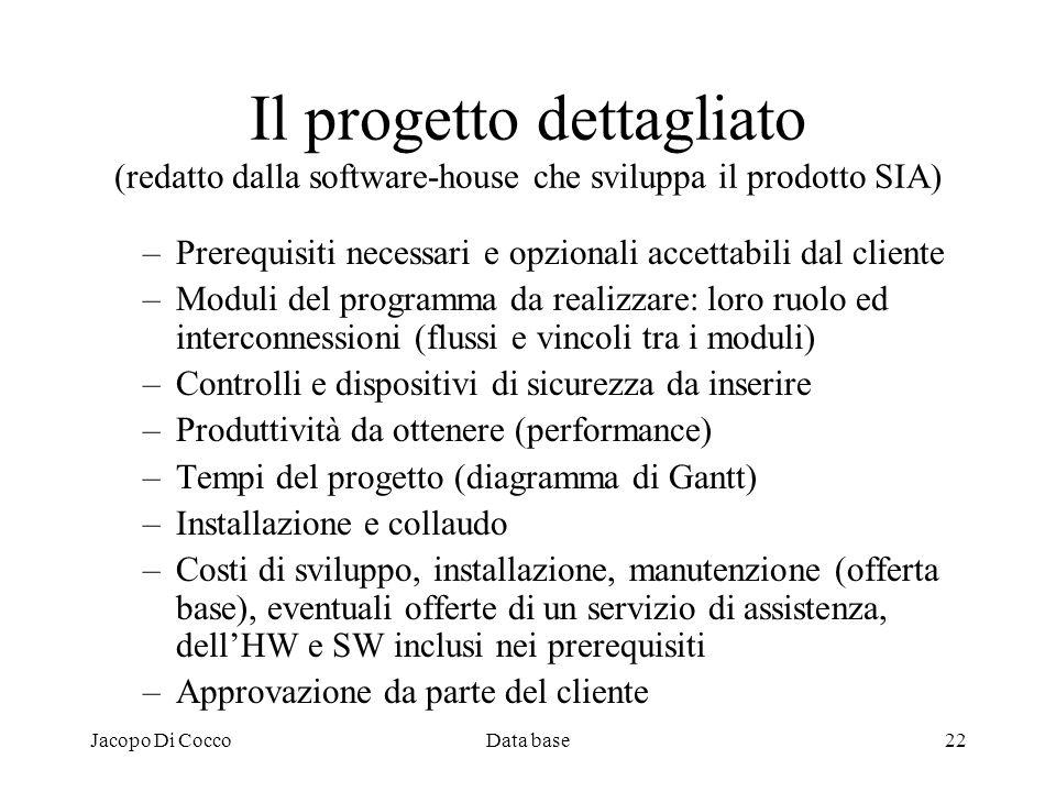Jacopo Di CoccoData base22 Il progetto dettagliato (redatto dalla software-house che sviluppa il prodotto SIA) –Prerequisiti necessari e opzionali acc