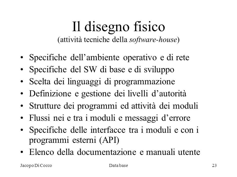 Jacopo Di CoccoData base23 Il disegno fisico (attività tecniche della software-house) Specifiche dellambiente operativo e di rete Specifiche del SW di