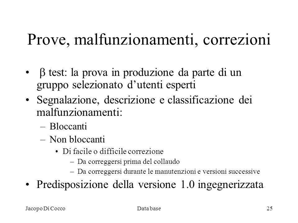 Jacopo Di CoccoData base25 Prove, malfunzionamenti, correzioni test: la prova in produzione da parte di un gruppo selezionato dutenti esperti Segnalaz
