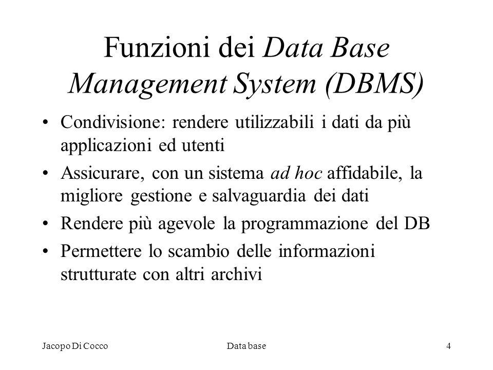 Jacopo Di CoccoData base4 Funzioni dei Data Base Management System (DBMS) Condivisione: rendere utilizzabili i dati da più applicazioni ed utenti Assi