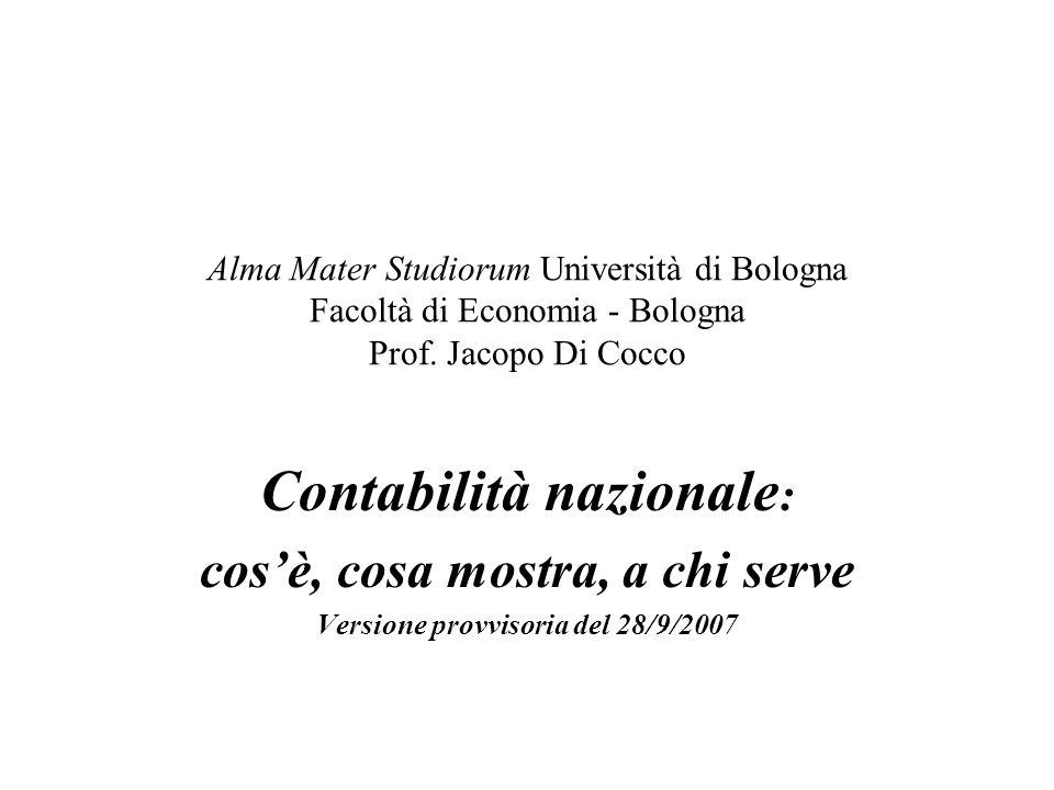 Alma Mater Studiorum Università di Bologna Facoltà di Economia - Bologna Prof. Jacopo Di Cocco Contabilità nazionale : cosè, cosa mostra, a chi serve
