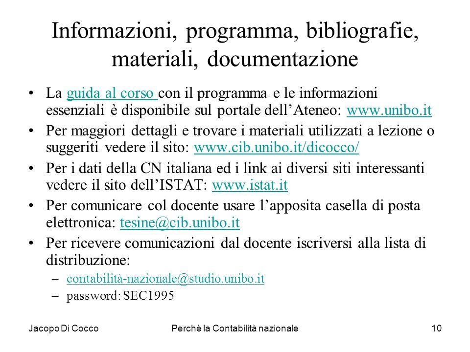 Jacopo Di CoccoPerchè la Contabilità nazionale10 Informazioni, programma, bibliografie, materiali, documentazione La guida al corso con il programma e