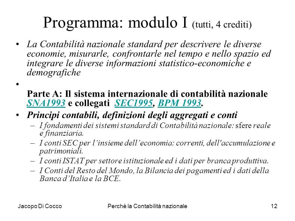 Jacopo Di CoccoPerchè la Contabilità nazionale12 Programma: modulo I (tutti, 4 crediti) La Contabilità nazionale standard per descrivere le diverse ec