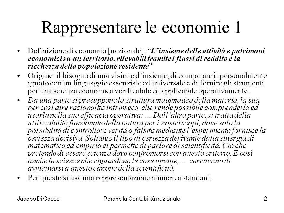 Jacopo Di CoccoPerchè la Contabilità nazionale3 Rappresentare le economie 2 Problematiche attuali: –paesi sviluppati, in rapida crescita o in ritardo, –competitività, benessere economico, sostenibilità, –Il risultato economico come valore sociale …..