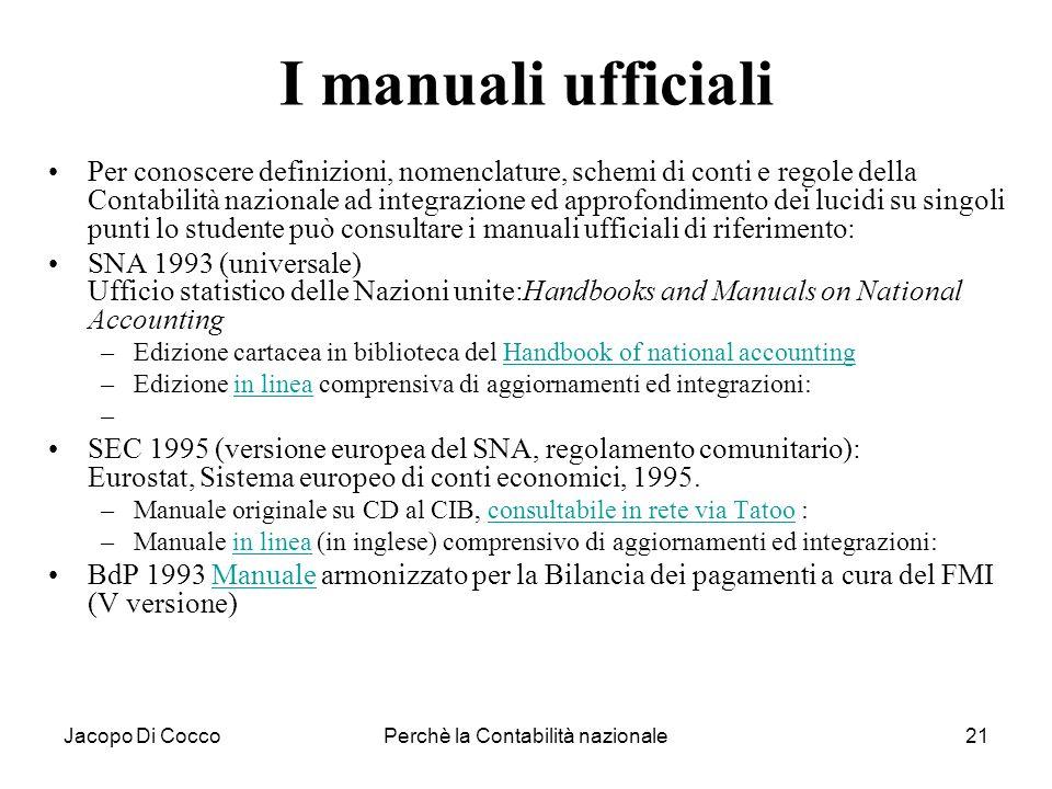 Jacopo Di CoccoPerchè la Contabilità nazionale21 I manuali ufficiali Per conoscere definizioni, nomenclature, schemi di conti e regole della Contabili