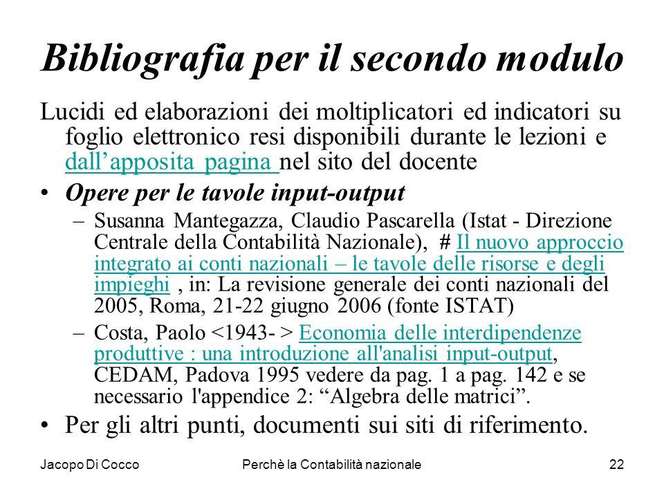 Jacopo Di CoccoPerchè la Contabilità nazionale22 Bibliografia per il secondo modulo Lucidi ed elaborazioni dei moltiplicatori ed indicatori su foglio