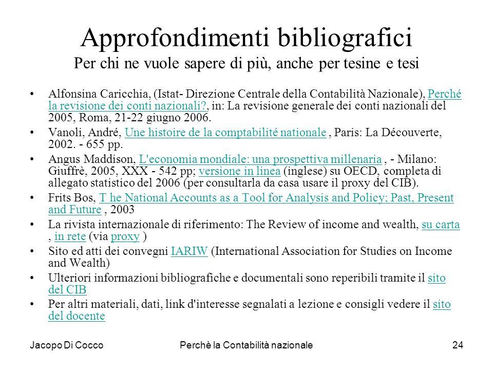 Jacopo Di CoccoPerchè la Contabilità nazionale24 Approfondimenti bibliografici Per chi ne vuole sapere di più, anche per tesine e tesi Alfonsina Caric