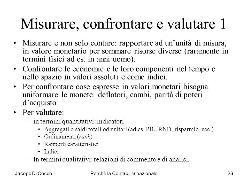 Jacopo Di CoccoPerchè la Contabilità nazionale26 Misurare, confrontare e valutare 1 Misurare e non solo contare: rapportare ad ununità di misura, in v