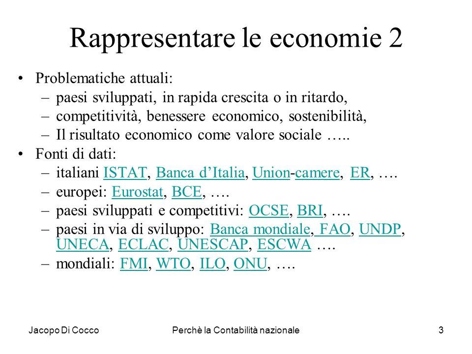 Jacopo Di CoccoPerchè la Contabilità nazionale3 Rappresentare le economie 2 Problematiche attuali: –paesi sviluppati, in rapida crescita o in ritardo,