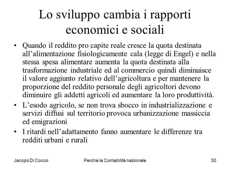 Jacopo Di CoccoPerchè la Contabilità nazionale30 Lo sviluppo cambia i rapporti economici e sociali Quando il reddito pro capite reale cresce la quota
