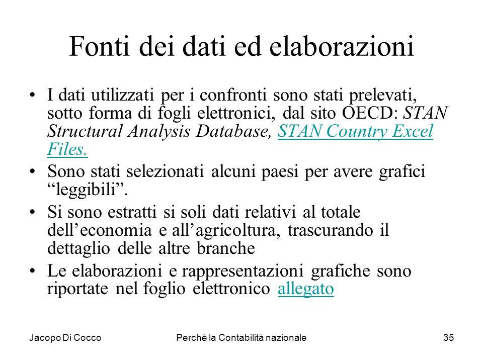 Jacopo Di CoccoPerchè la Contabilità nazionale35 Fonti dei dati ed elaborazioni I dati utilizzati per i confronti sono stati prelevati, sotto forma di