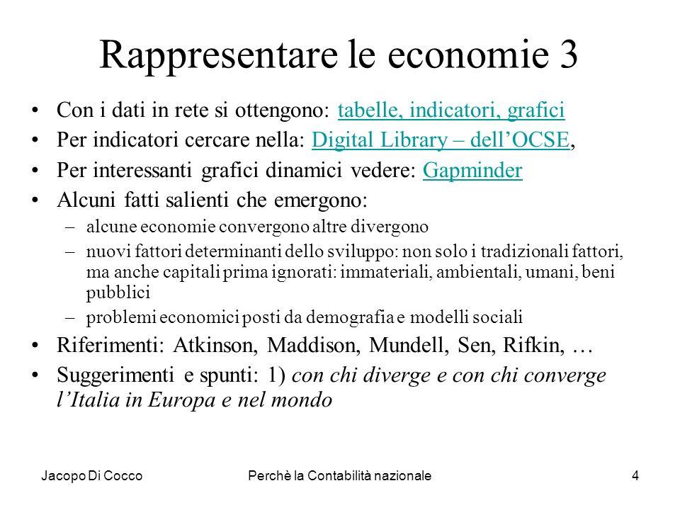 Jacopo Di CoccoPerchè la Contabilità nazionale4 Rappresentare le economie 3 Con i dati in rete si ottengono: tabelle, indicatori, graficitabelle, indi