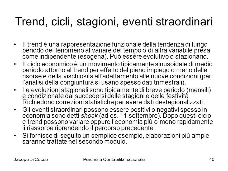 Jacopo Di CoccoPerchè la Contabilità nazionale40 Trend, cicli, stagioni, eventi straordinari Il trend è una rappresentazione funzionale della tendenza