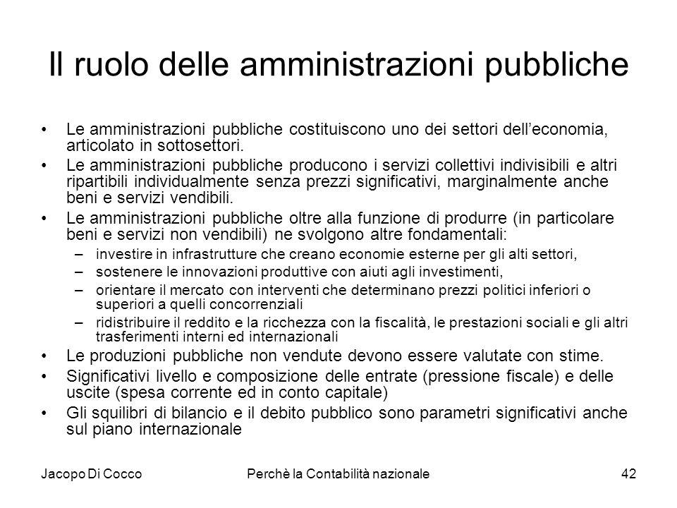 Jacopo Di CoccoPerchè la Contabilità nazionale42 Il ruolo delle amministrazioni pubbliche Le amministrazioni pubbliche costituiscono uno dei settori d