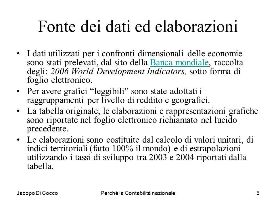 Jacopo Di CoccoPerchè la Contabilità nazionale26 Misurare, confrontare e valutare 1 Misurare e non solo contare: rapportare ad ununità di misura, in valore monetario per sommare risorse diverse (raramente in termini fisici ad es.