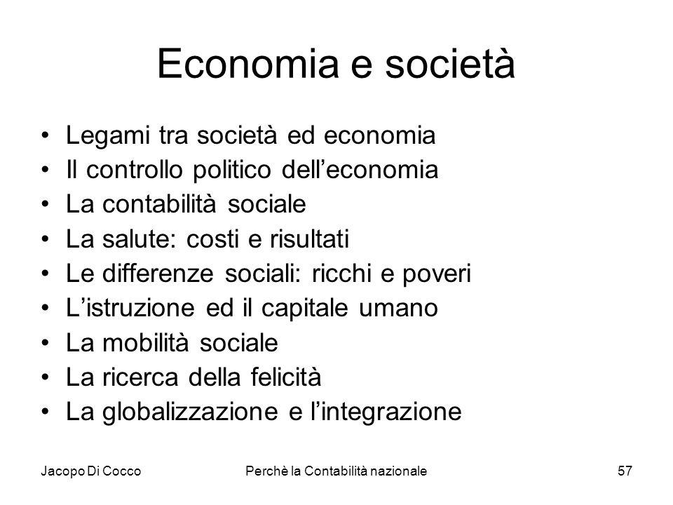 Jacopo Di CoccoPerchè la Contabilità nazionale57 Economia e società Legami tra società ed economia Il controllo politico delleconomia La contabilità s