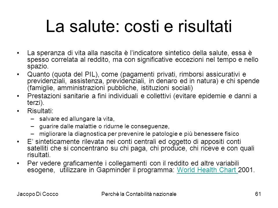 Jacopo Di CoccoPerchè la Contabilità nazionale61 La salute: costi e risultati La speranza di vita alla nascita è lindicatore sintetico della salute, e