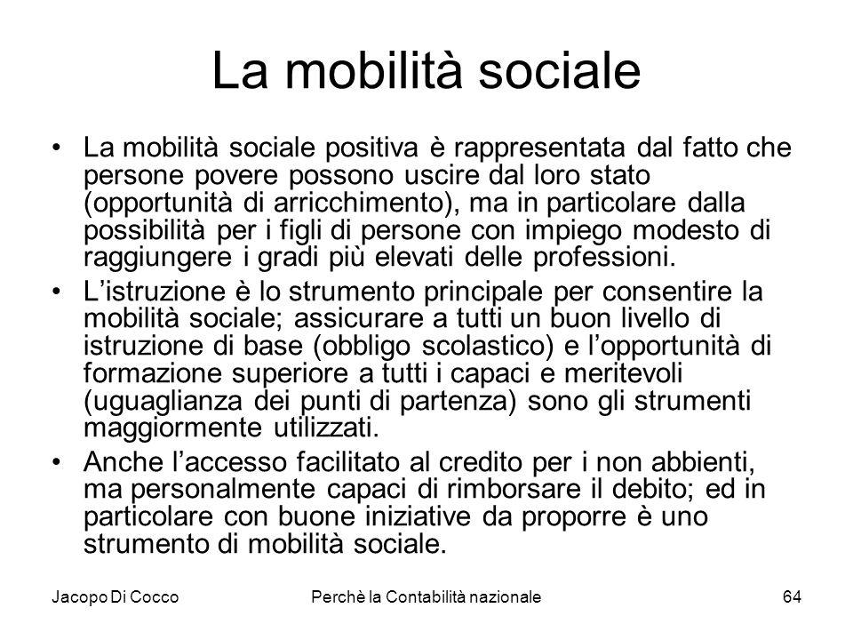 Jacopo Di CoccoPerchè la Contabilità nazionale64 La mobilità sociale La mobilità sociale positiva è rappresentata dal fatto che persone povere possono