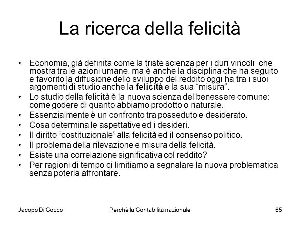 Jacopo Di CoccoPerchè la Contabilità nazionale65 La ricerca della felicità Economia, già definita come la triste scienza per i duri vincoli che mostra