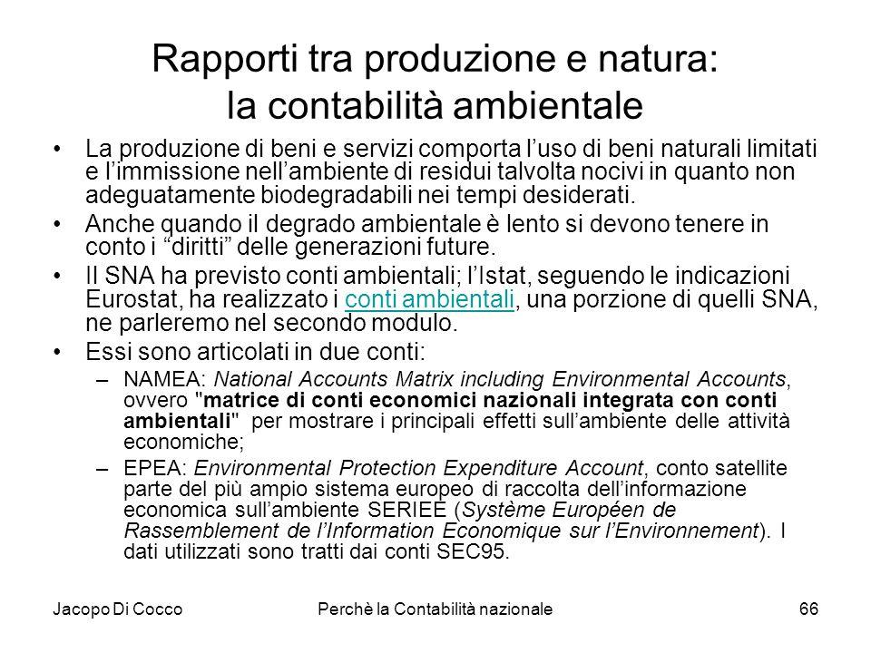 Jacopo Di CoccoPerchè la Contabilità nazionale66 Rapporti tra produzione e natura: la contabilità ambientale La produzione di beni e servizi comporta