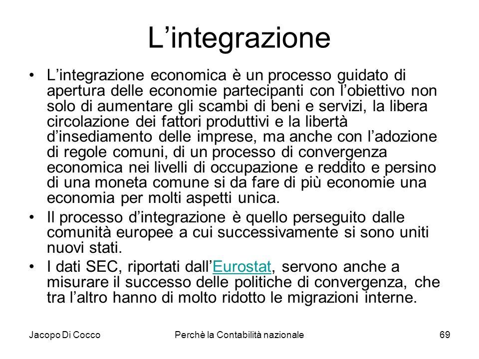 Jacopo Di CoccoPerchè la Contabilità nazionale69 Lintegrazione Lintegrazione economica è un processo guidato di apertura delle economie partecipanti c