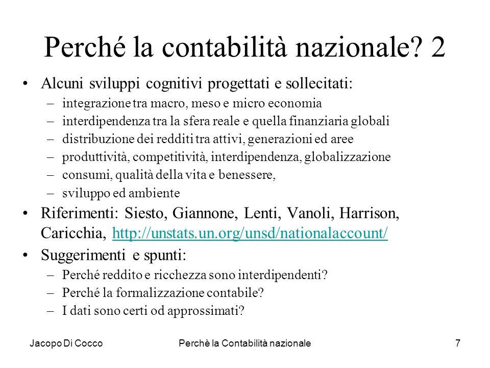 Jacopo Di CoccoPerchè la Contabilità nazionale28 Misurare: reddito e ricchezza Il reddito è un flusso generato dalla produzione del periodo che determina il potere di acquisto a situazione patrimoniale immutata.