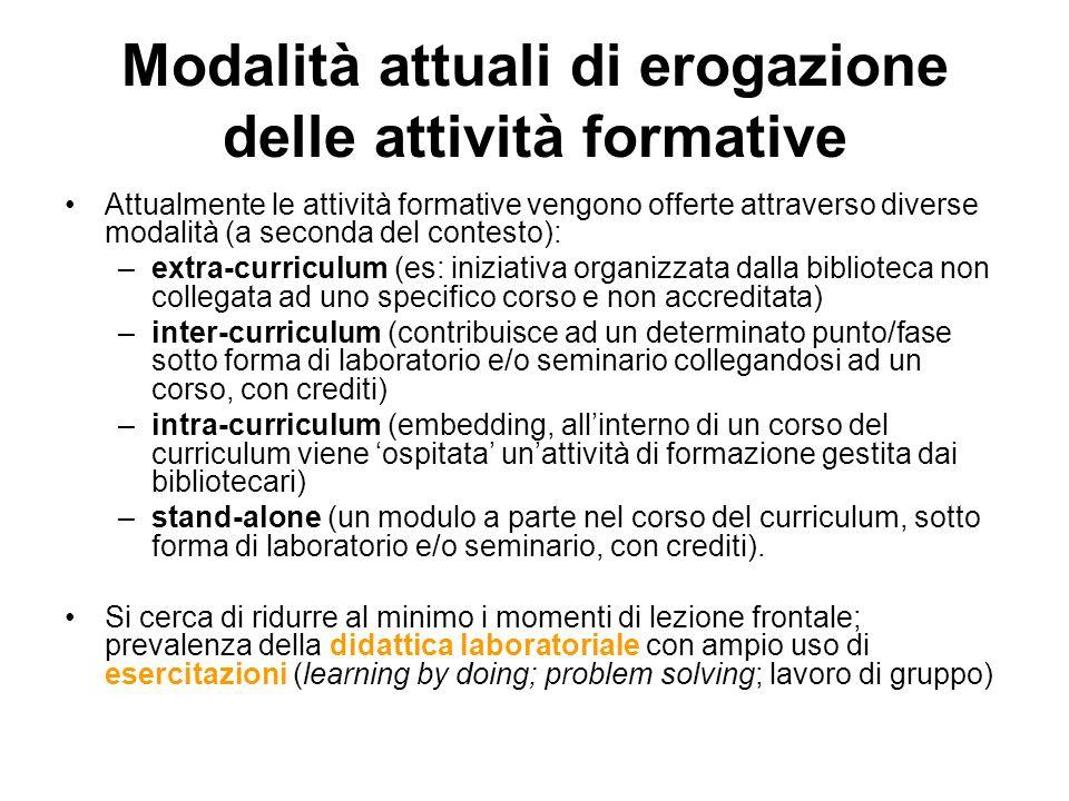 Modalità attuali di erogazione delle attività formative Attualmente le attività formative vengono offerte attraverso diverse modalità (a seconda del c