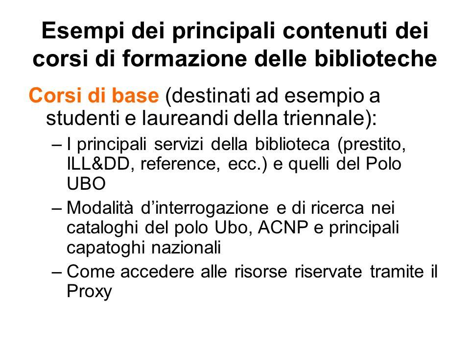 Esempi dei principali contenuti dei corsi di formazione delle biblioteche Corsi di base (destinati ad esempio a studenti e laureandi della triennale):