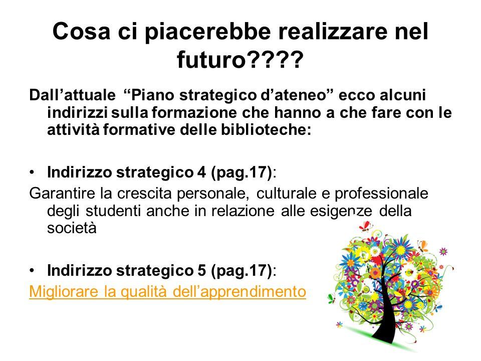Cosa ci piacerebbe realizzare nel futuro???? Dallattuale Piano strategico dateneo ecco alcuni indirizzi sulla formazione che hanno a che fare con le a