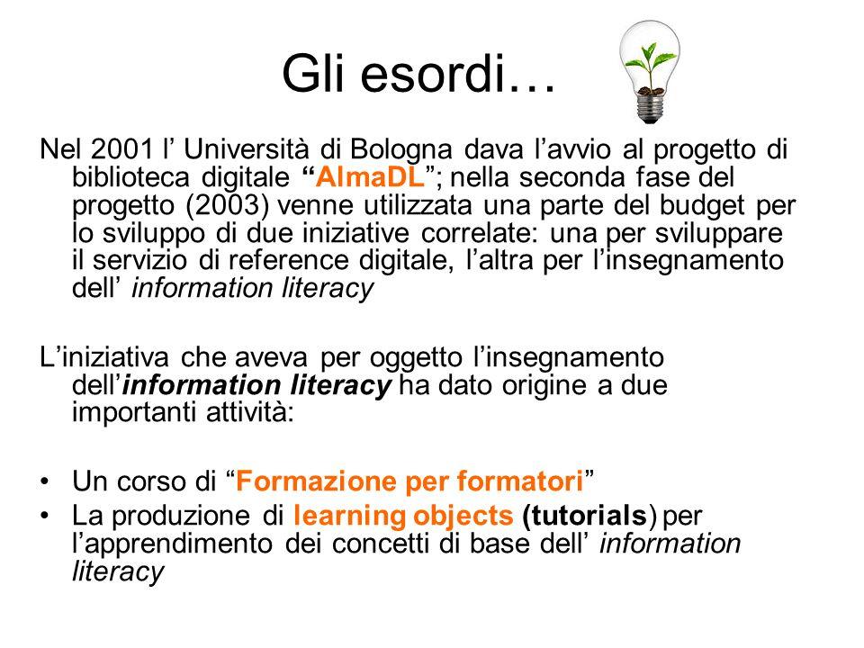 Gli esordi… Nel 2001 l Università di Bologna dava lavvio al progetto di biblioteca digitale AlmaDL; nella seconda fase del progetto (2003) venne utili