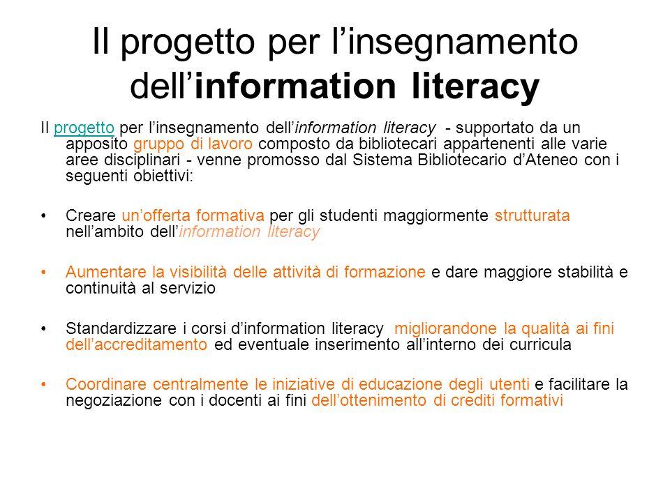 Il progetto per linsegnamento dellinformation literacy Il progetto per linsegnamento dellinformation literacy - supportato da un apposito gruppo di la