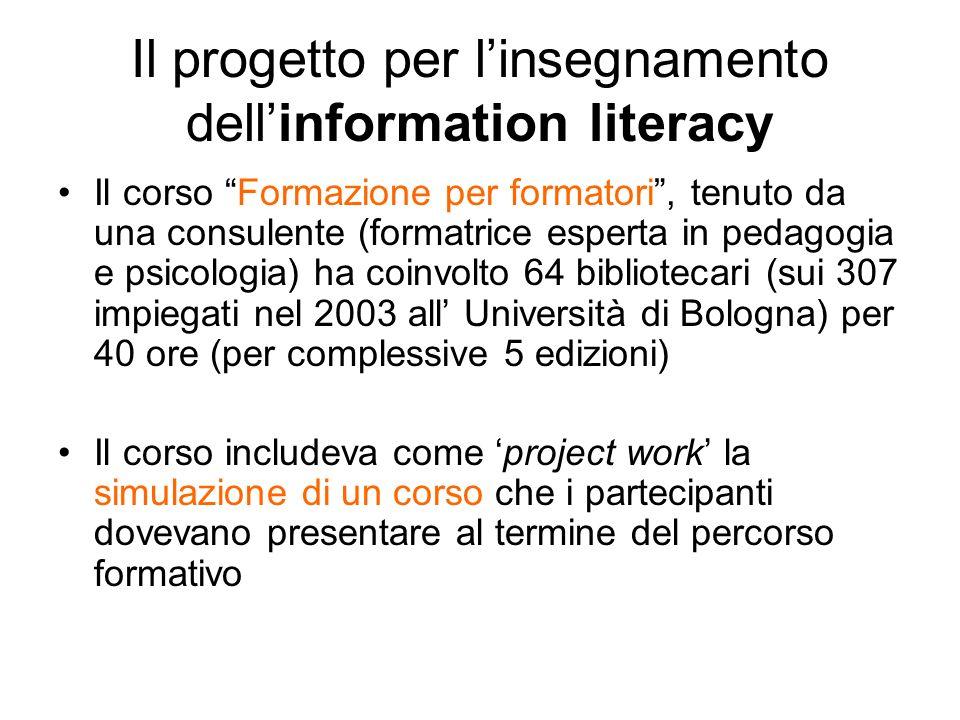 Il progetto per linsegnamento dellinformation literacy Il corso Formazione per formatori, tenuto da una consulente (formatrice esperta in pedagogia e