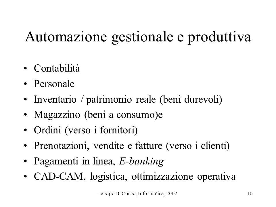 Jacopo Di Cocco, Informatica, 200210 Automazione gestionale e produttiva Contabilità Personale Inventario / patrimonio reale (beni durevoli) Magazzino