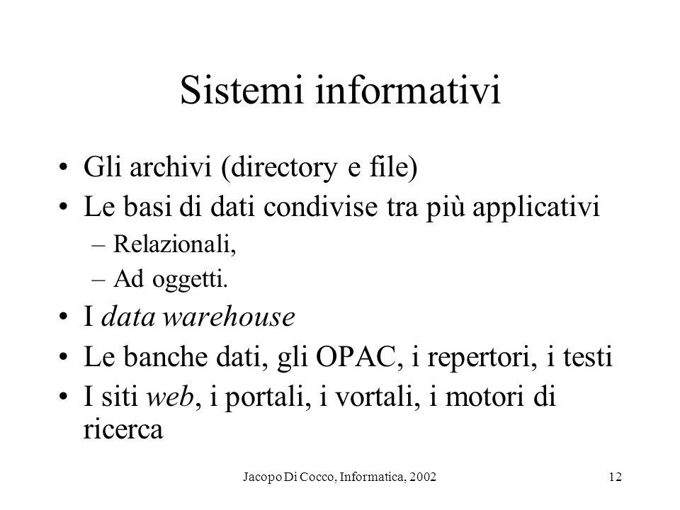 Jacopo Di Cocco, Informatica, 200212 Sistemi informativi Gli archivi (directory e file) Le basi di dati condivise tra più applicativi –Relazionali, –Ad oggetti.