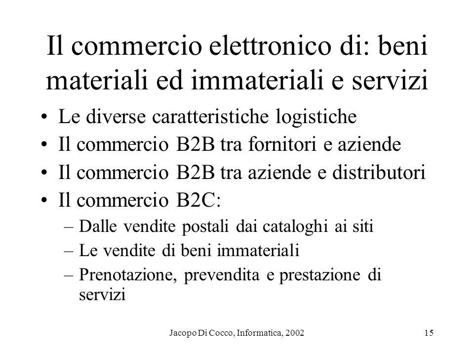 Jacopo Di Cocco, Informatica, 200215 Il commercio elettronico di: beni materiali ed immateriali e servizi Le diverse caratteristiche logistiche Il com