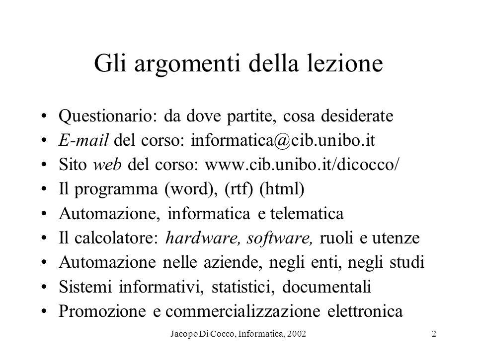 Jacopo Di Cocco, Informatica, 20022 Gli argomenti della lezione Questionario: da dove partite, cosa desiderate E-mail del corso: informatica@cib.unibo