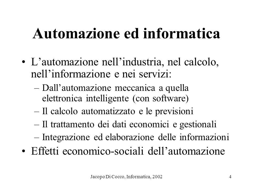 Jacopo Di Cocco, Informatica, 20024 Automazione ed informatica Lautomazione nellindustria, nel calcolo, nellinformazione e nei servizi: –Dallautomazio