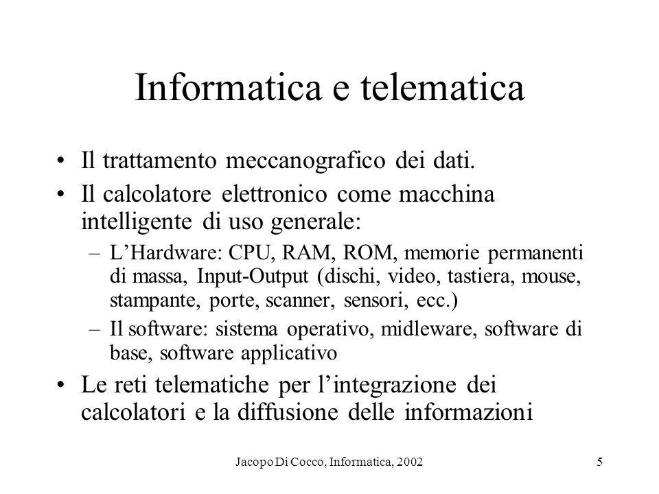 Jacopo Di Cocco, Informatica, 20025 Informatica e telematica Il trattamento meccanografico dei dati. Il calcolatore elettronico come macchina intellig