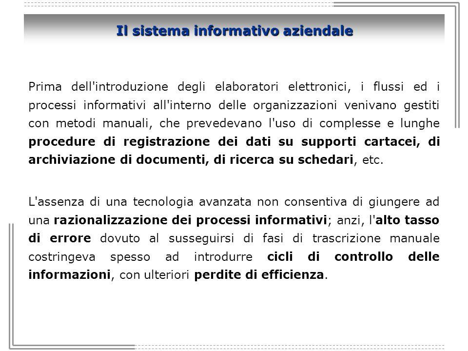 Il sistema informativo aziendale Prima dell'introduzione degli elaboratori elettronici, i flussi ed i processi informativi all'interno delle organizza
