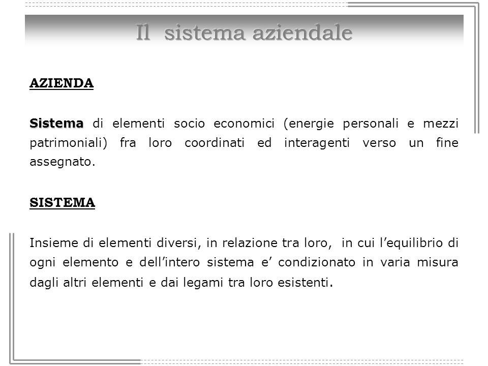 AZIENDA Sistema Sistema di elementi socio economici (energie personali e mezzi patrimoniali) fra loro coordinati ed interagenti verso un fine assegnat