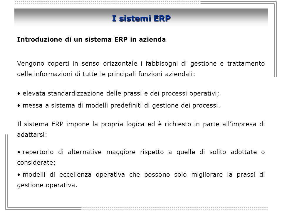 I sistemi ERP Introduzione di un sistema ERP in azienda Vengono coperti in senso orizzontale i fabbisogni di gestione e trattamento delle informazioni